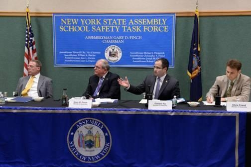 Assemblyman Ed Ra (second from right) speaks during the New York State Assembly�s Minority School Safety Task Force, held in Auburn, NY on April 4.