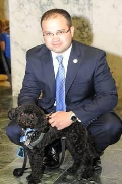 Assemblyman Ed Ra�s dog, Carter, joins him in Albany for Animal Advocacy Day.