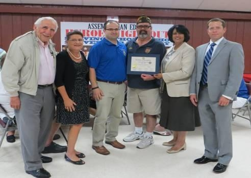 Pictured Left to Right: Louis Palermo, Commander, Franklin Square American Legion Post #1014; County Clerk Maureen O�Connell; Assemblyman Ed Ra; John McManamy, Commander, Franklin Square VFW Post #2718,Hempstead Town Clerk Nasrin Ahmad; and Thomas Rademaker.