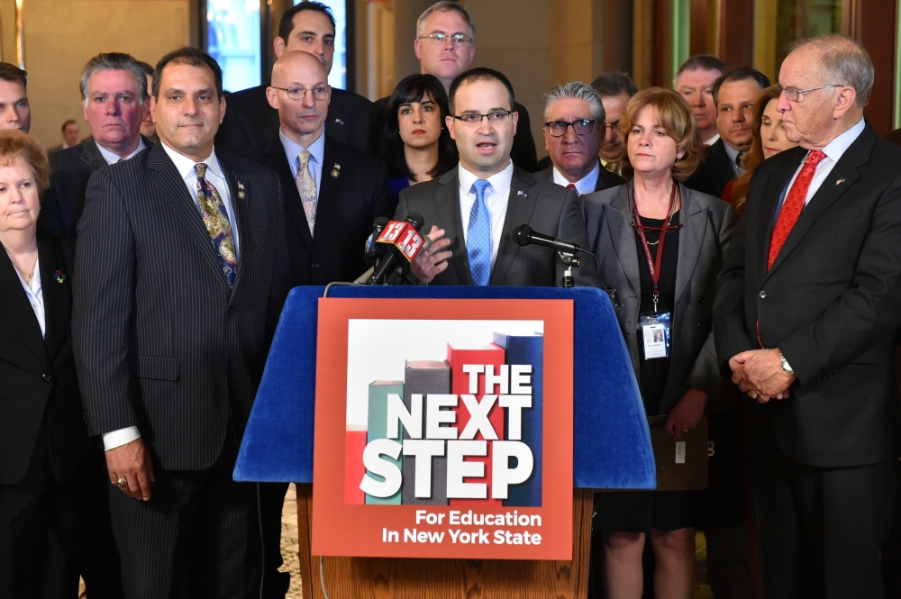 Assemblyman Ed Ra joins members of the Assembly Minority Conference to introduce the 2016 Education Agenda for New York State.
