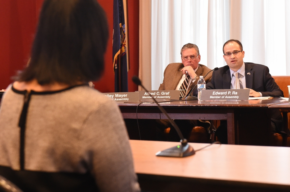 Assemblyman Ed Ra (R-Franklin Square) joined members of the Assembly and Senate Education and Higher Education committees in conducting interviews for prospective Board of Regents candidates.