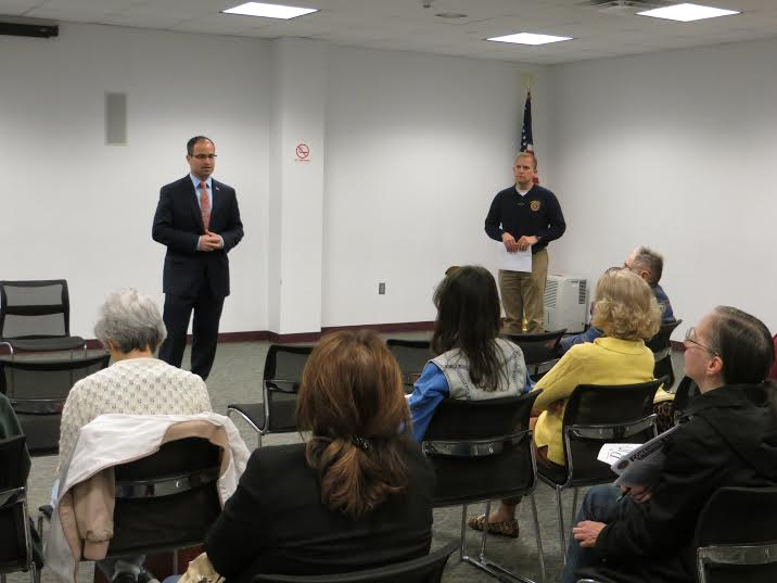 Assemblyman Ed Ra (left) and Kenny Heino speak at the Identity Theft Seminar.