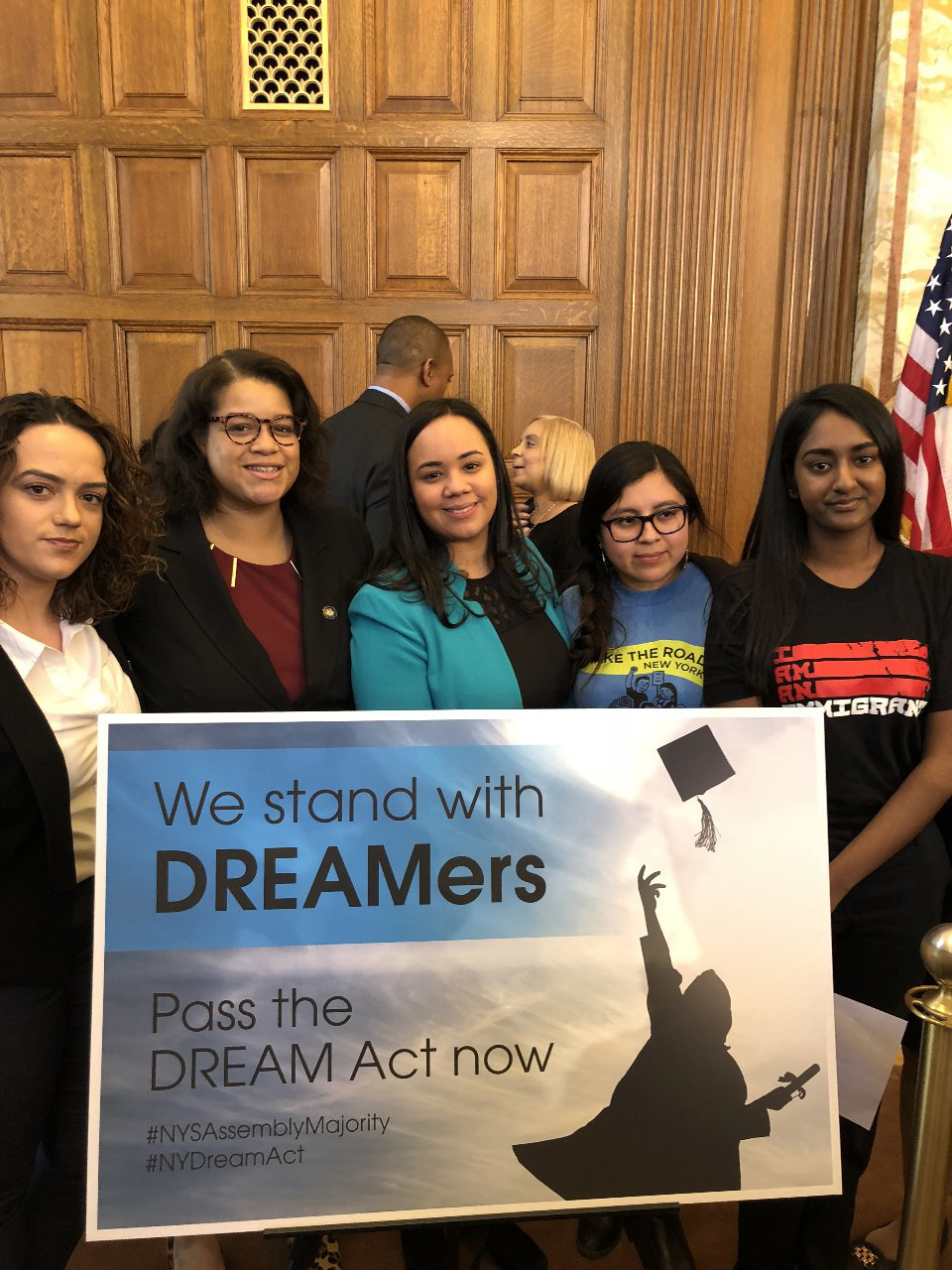Assemblywoman Solages meets with dreamers in support of the Jose Peralta Dream Act that was signed into law in 2019.