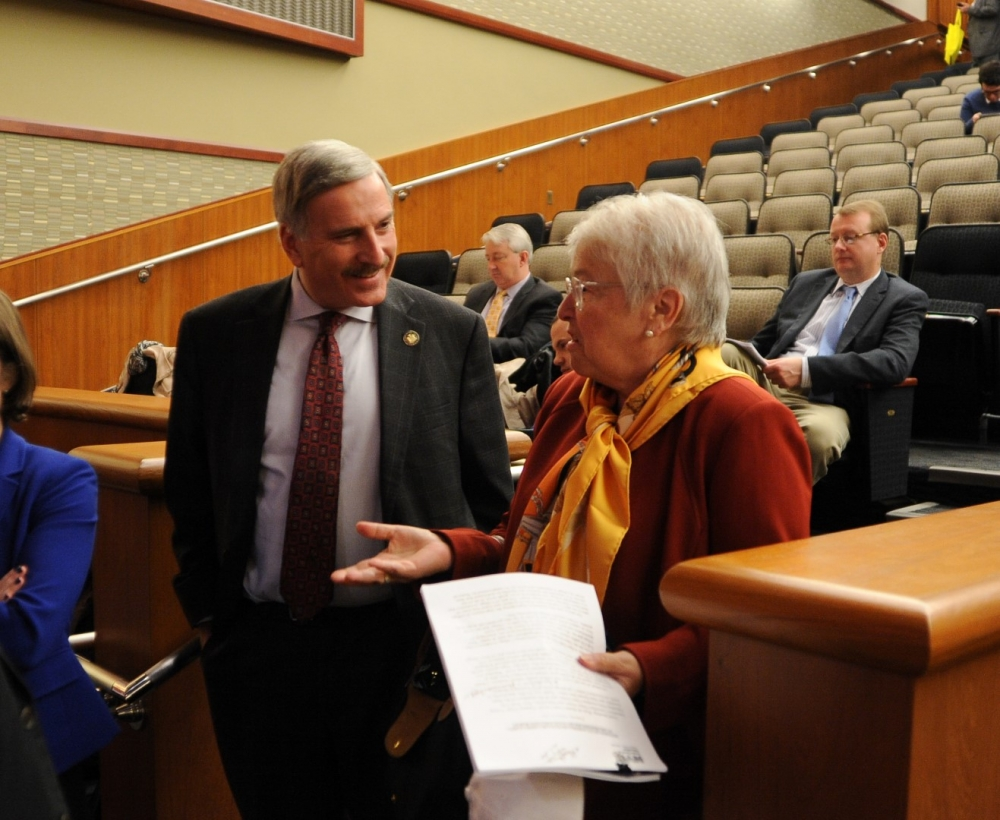Assemblyman David Weprin speaks with New York City Schools Chancellor Carmen Fariña in Albany following the Joint Legislative Budget Hearing on Elementary and Secondary Education.