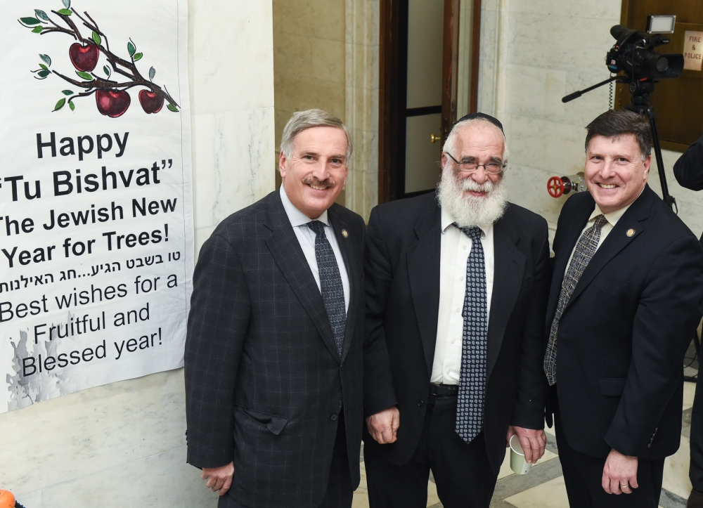 Assemblyman David Weprin joins his brother, Deputy Secretary of Legislative Affairs Mark Weprin, and Rabbi Israel Rubin, Chabad director of the Capital Region to celebrate Tu Bishvat' - The Jewish New
