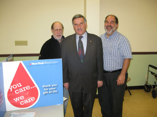 Chuck Waxman, Assemblyman David Weprin, and Joseph Varon at a community blood drive at the Young Israel of New Hyde Park on Sunday March 6. Mr. Waxman and Mr. Varon were the Chairmen of the drive.