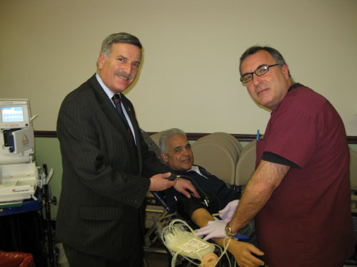 Assemblyman Weprin taking Nick Pellegrino of Floral Park�s blood pressure with the help of Donor Specialist, Ralph DiSalvo at the community blood drive at the Young Israel of New Hyde Park on Sunday March 6. The drive was sponsored by six Eastern Queens and Nassau County synagogues.