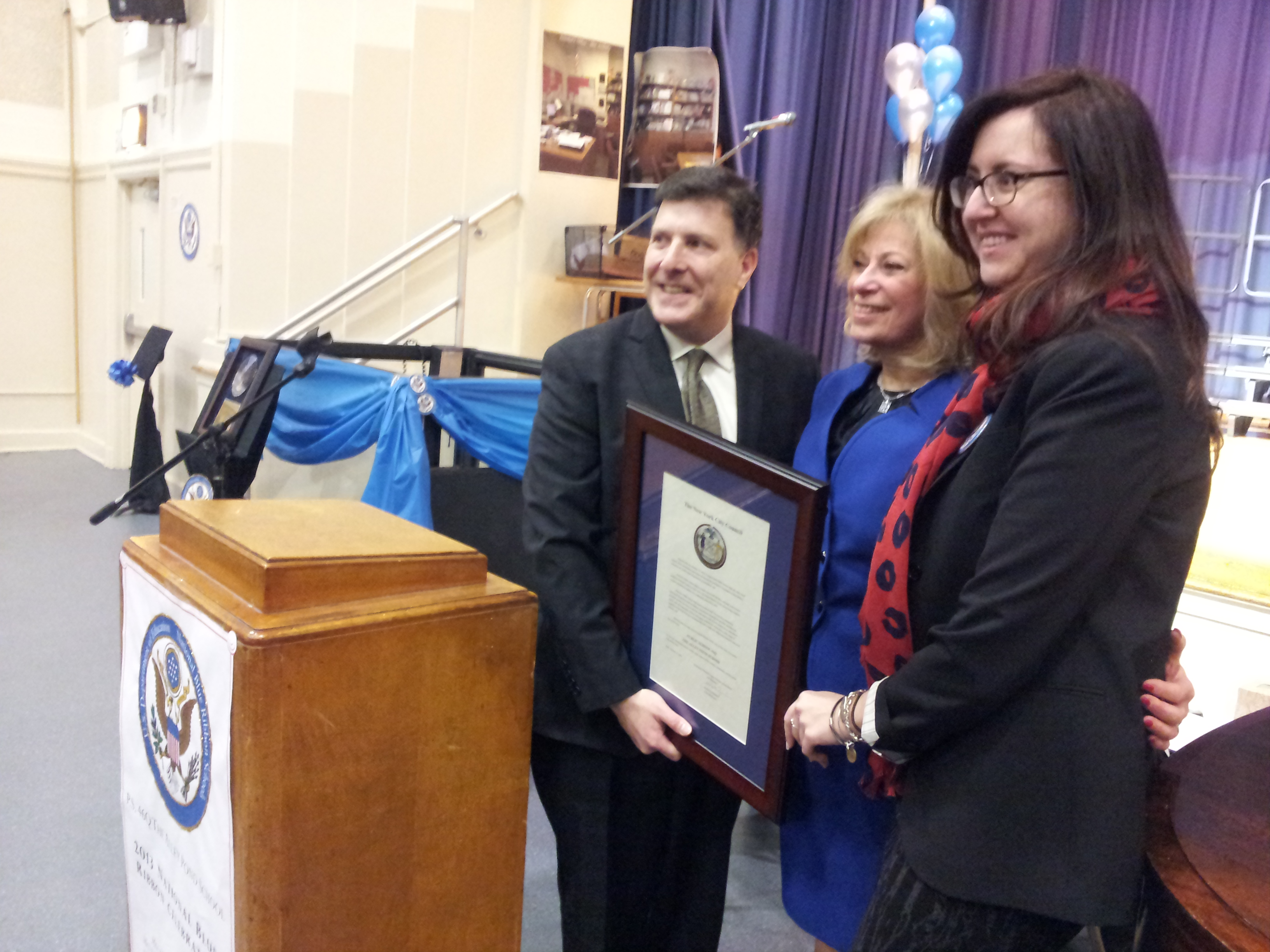 Assemblywoman Nily Rozic and Council Member Mark Weprin congratulated Principal Marsha Goldberg and P.S. 46 in Oakland Gardens for receiving the Blue Ribbon Award.