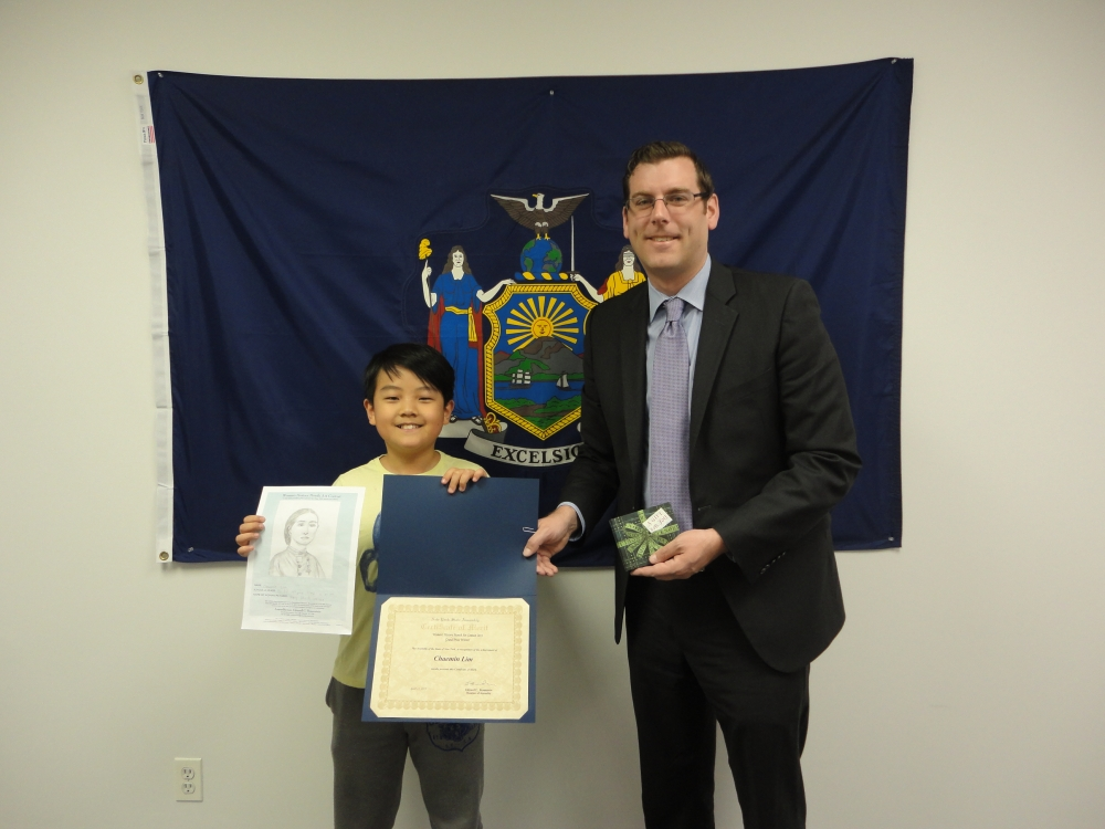 On April 30, 2015, Assemblyman Braunstein congratulated the winner of his Women�s History Month Contest, Chaemin Lim, a 4th Grade student at PS 32: State Street School in Auburndale.