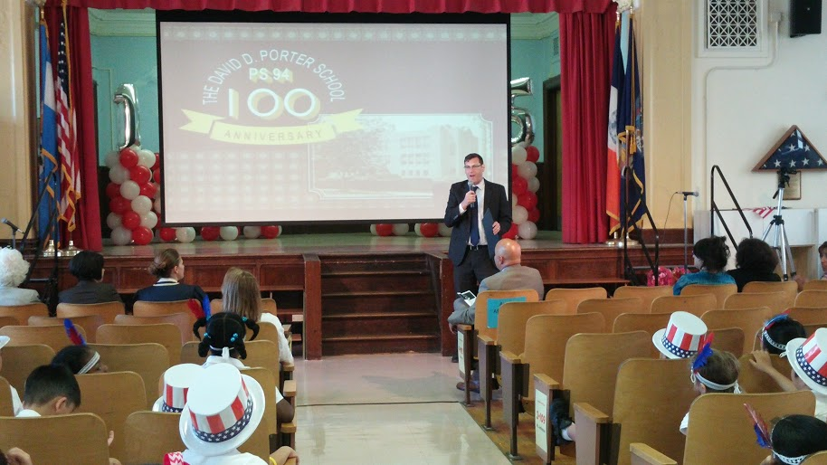 On May 29, 2015, Assemblyman Braunstein presented a New York State Legislative Resolution to PS 94: The David D. Porter School in Little Neck in honor of the school�s 100th Anniversary.
