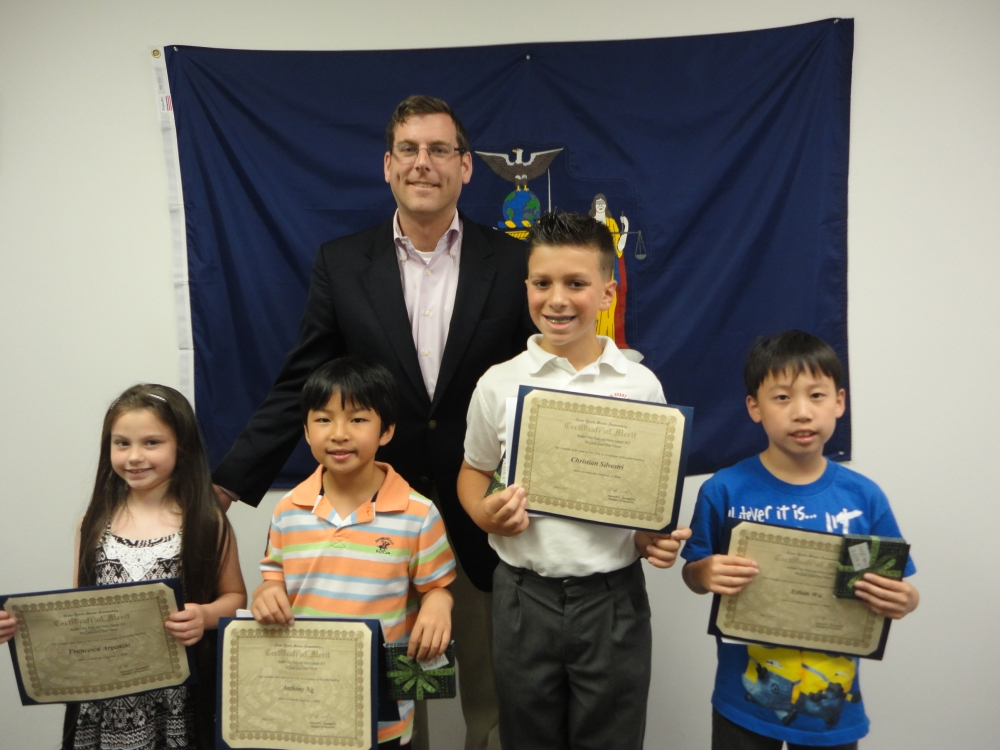 On June 5, 2015, Assemblyman Braunstein congratulated the winners of his Mother�s Day Essay and Poetry Contest 2015. Assemblyman Braunstein is pictured with 2nd Grade Grand Prize Winner Francesca Arge