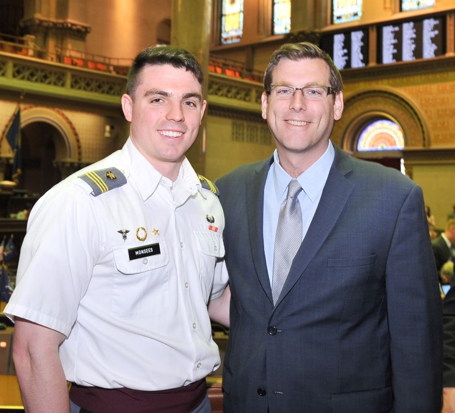 On May 5, 2016, Assemblyman Braunstein met with West Point Cadet Sean Monsees from Whitestone during the New York State Legislature�s 65th Annual West Point Day.