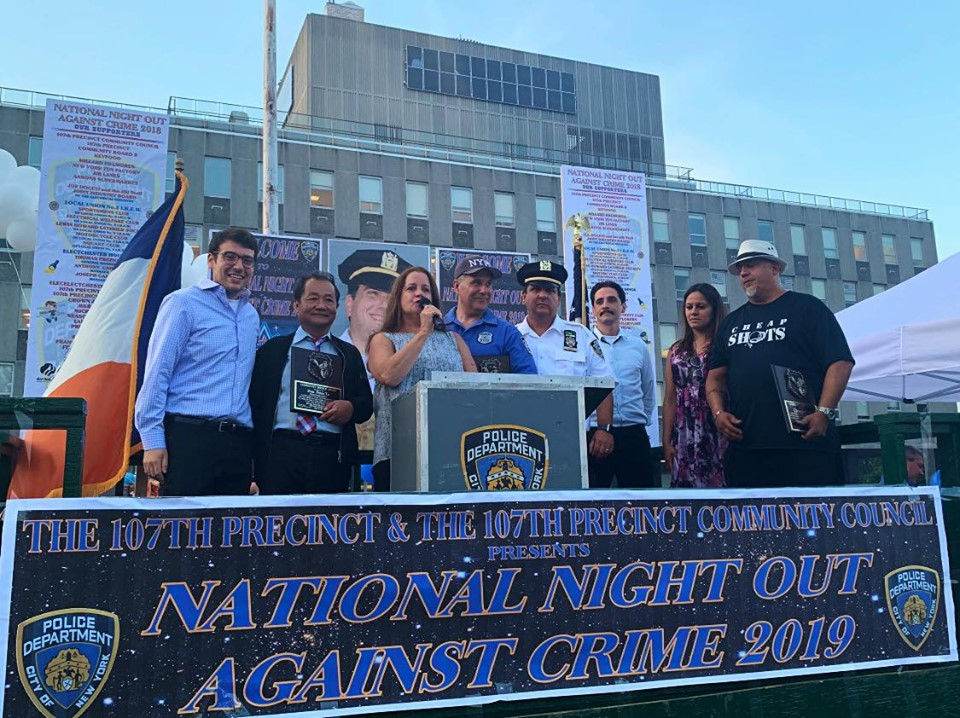 Assemblymember Rosenthal attends NYPD's National Night Out Against Crime to commend the 107th Precinct officers and the civilian community council for all their hard work.