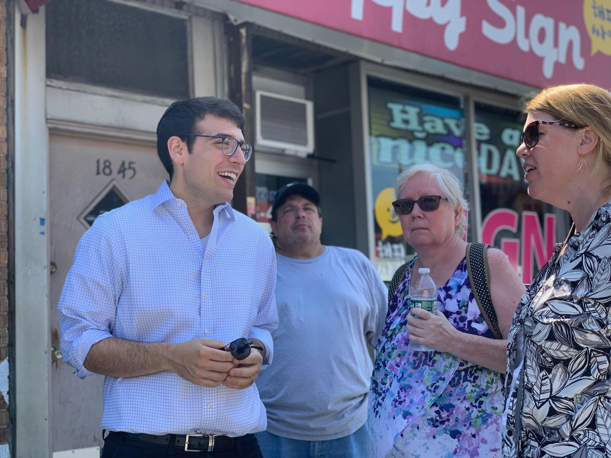 Assemblymember Rosenthal hosts a neighborhood walkthrough with leaders and small-business owners along College Point Boulevard in order to assess the needs of the community.