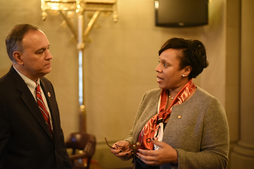 Assemblywoman Hyndman discussing diversity with Queens College President Félix V. Matos Rodríguez