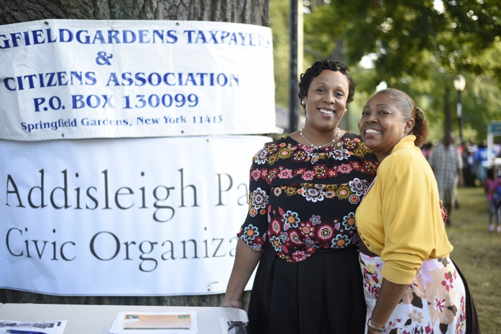 Assemblywoman Hyndman with Addisleigh Park Civic President Andrea Scarborough
