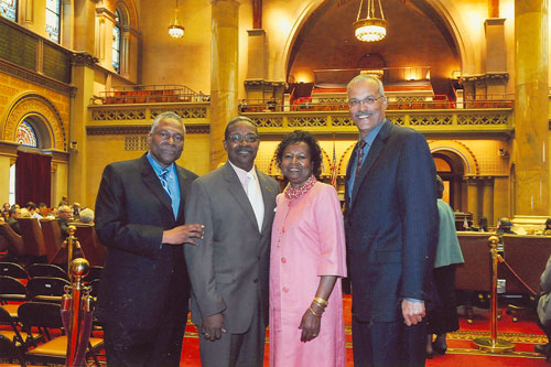 Assemblymen Aubry and Wright give a warm welcome to our guests Mr.  & Mrs. George Dixon.