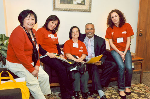 Assemblyman Aubry and members of The Nurses Associated discuss the importance of their legislation regarding healthcare issues.