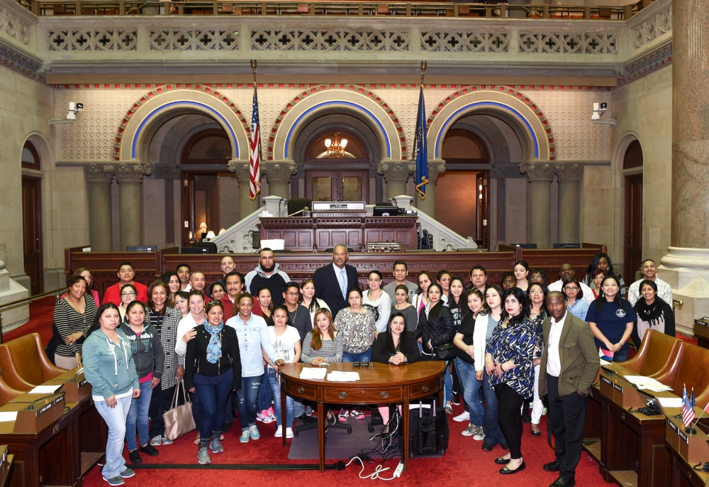 Students, teachers, & parents from P.S. 127 in Queens visit Assemblyman Aubry at the State Capitol, May 17, 2016.<br />