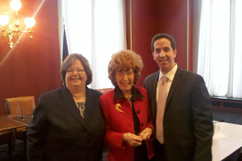 Assemblywoman Catherine Nolan with Geraldine Chapey, Queens County representative of the NYS Board of Regents and Assemblyman Goldfeder.