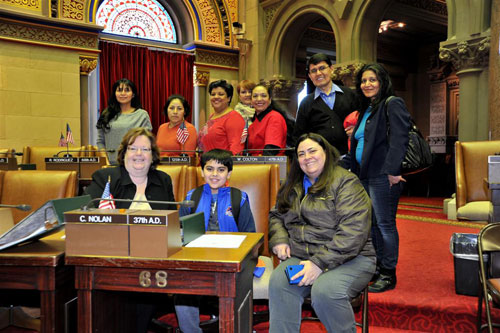 Assemblywoman Catherine Nolan with children and parents from Renaissance Charter School located in Queens, NY.