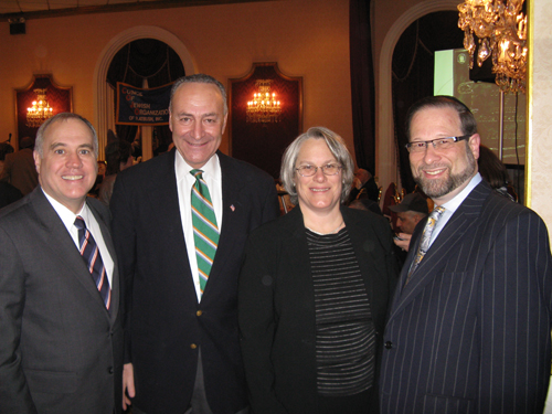 Assemblywoman Helene Weinstein attends the Council of Jewish Organizations of Flatbush Annual Legislative Breakfast. Pictured with the Assemblywoman (l. to r.) are NY State Comptroller, Tom DiNapoli, U.S. Senator Charles Schumer and Breakfast Co-Chair Leon Goldenberg.