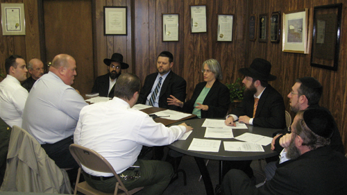 Assemblywoman Weinstein meets with Sanitation Officials, Rabbi Meir Benabu, Congregation Shuva Yisroel, Rabbi Moshe Scheinerman, Congregation Kollel Bnai Yeshivos, Raphael Treitel, NYPD 63rd Precinct Clergy Liasion, Chazkel Bennett, representing Rabbi Shimshon Sherer, and Ezra Max, community representatives for her Annual Passover Collections meeting.