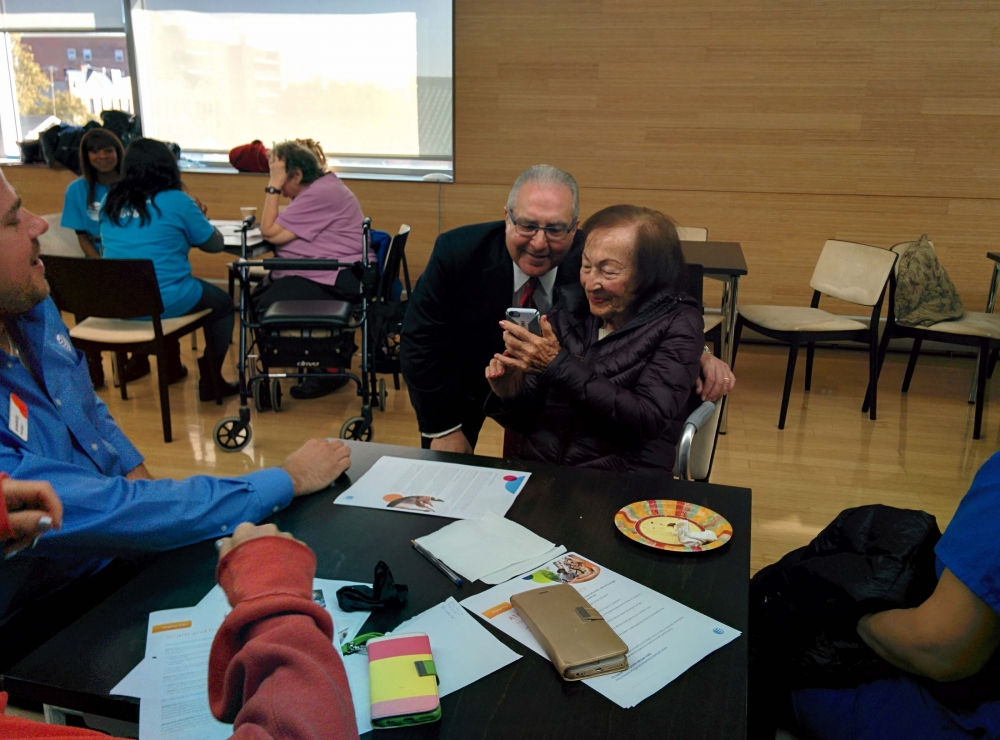 Assemblyman Cymbrowitz takes a selfie with a constituent. The Assemblyman, Chairman of the Assembly's Aging Committee, joined representatives from AT&T at the Sephardic Community Center to teach senio