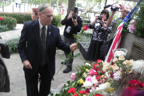 Assemblyman Colton paying his respects at a 9/11 memorial marking the Tenth Anniversary.
