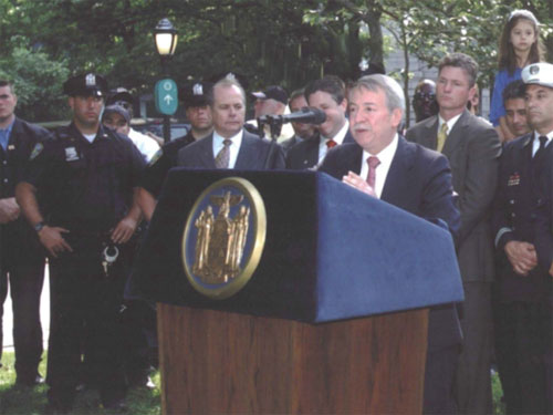 Assemblyman Abbate addresses groups from law enforcement agencies regarding important 9-11 legislation.