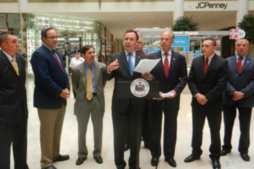 Assemblyman Michael Cusick speaks during the press conference about his Organized Retail Crime Bills with David Albertson from the Staten Island Mall, Ted Potrikus of the New York State Retail Council, Michael Rosen of the Food Industry Alliance, Gold Mine Jewelers shop owner Gerald Amerosi, District Attorney Daniel Donovan, representative from Senator Lanza�s office, and a Staten Island Mall retailer.