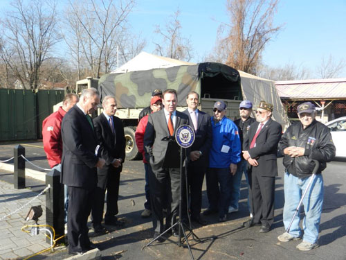 Press Conference with Senator Schumer to place a Mobile VA Van on Staten Island for Veterans affected by Hurricane Sandy.