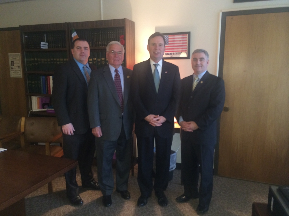 AOH:  Assemmblyman Cusick meets with members of the Ancient Order of Hibernians in America NYS Vice President Timothy McSweeney, New York State President Jim Burke, and Education Chair Liam McNabb in