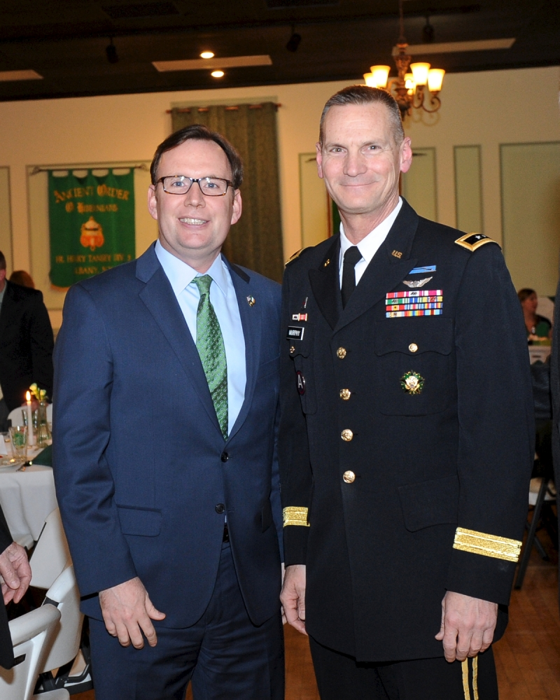 Assemblyman Michael Cusick pictured with Major General Patrick A. Murphy who was honored at a St. Patrick�s Dinner hosted by the American Irish Legislators Society of New York State.