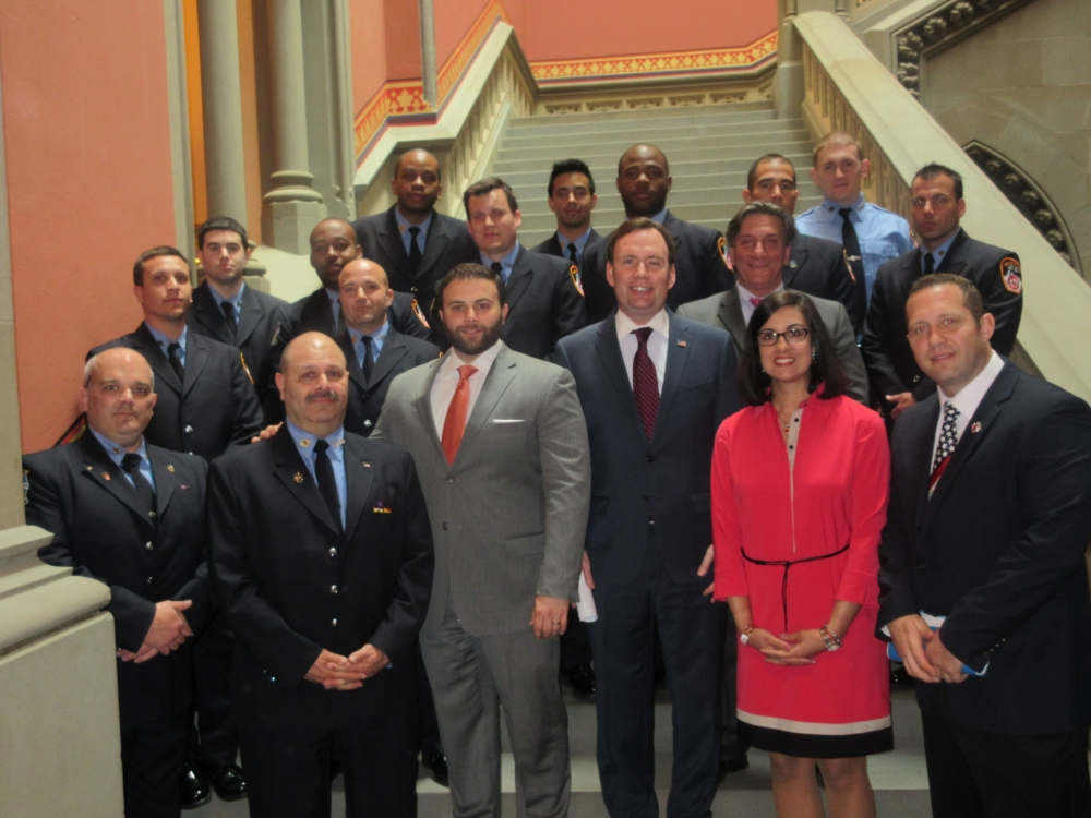 Assemblyman Cusick along with the Staten Island Delegation welcome the Uniformed Firefighters Association of Greater New York, and fellow Staten Islanders, to the State Capitol.