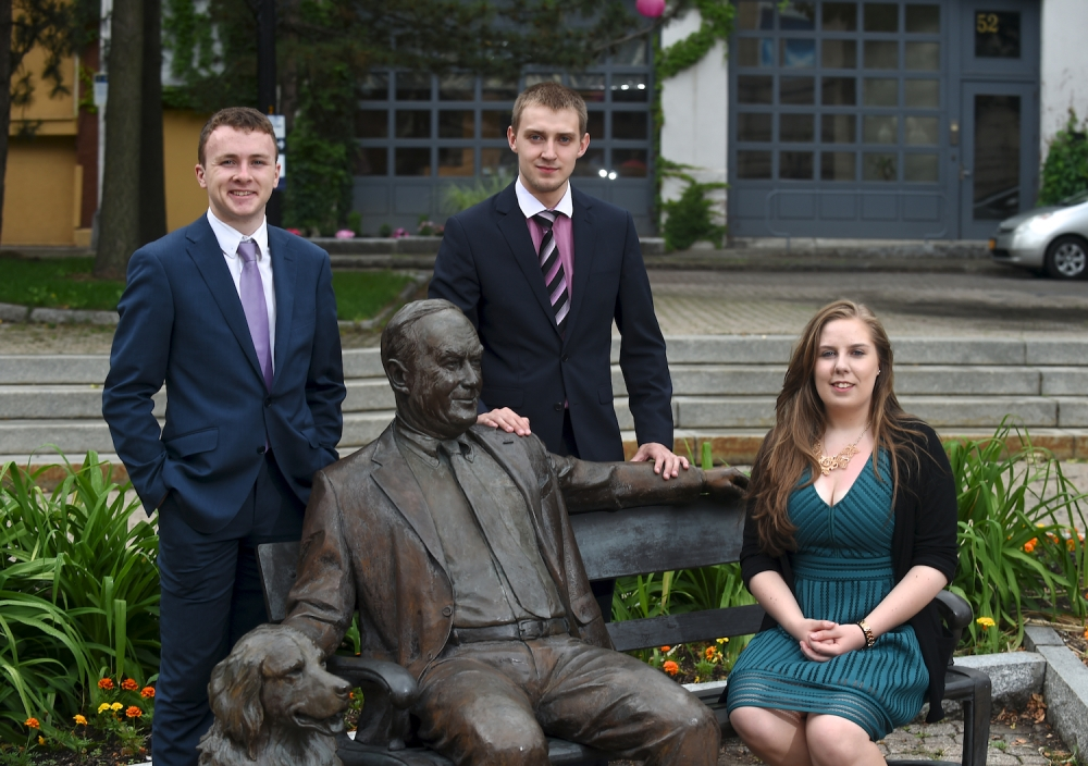 Chris Boyle, Konstantin Sologub (Intern in Assemblyman Cusick�s office) and Shannon Sweeney, Whalen Interns from the University College Cork are pictured in this photo taken at the Tricentennial Park