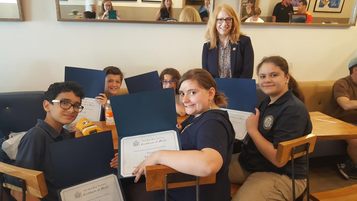 Assemblymember Linda B. Rosenthal presented awards to the students of West End Secondary School for participating in her annual community service project with the New York City Parks Department.
