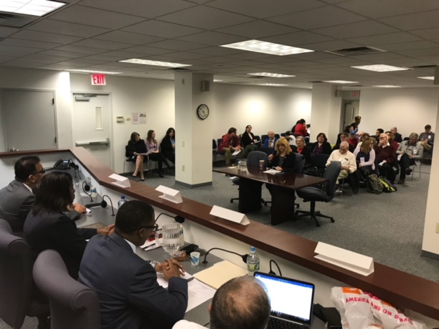 Assemblymember Linda B. Rosenthal testifies before the New York State Department of Housing and Community Renewal to demand a rent rollback for thousands of rent-controlled tenants.