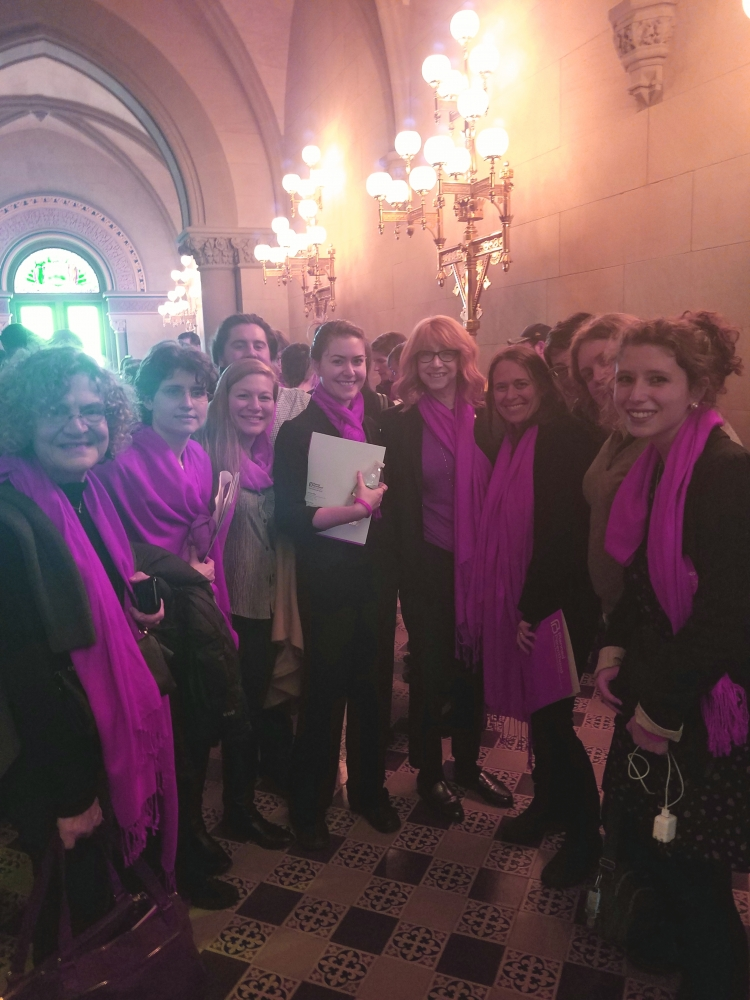 Assemblymember Linda B. Rosenthal stands in solidarity with Planned Parenthood advocates in Albany