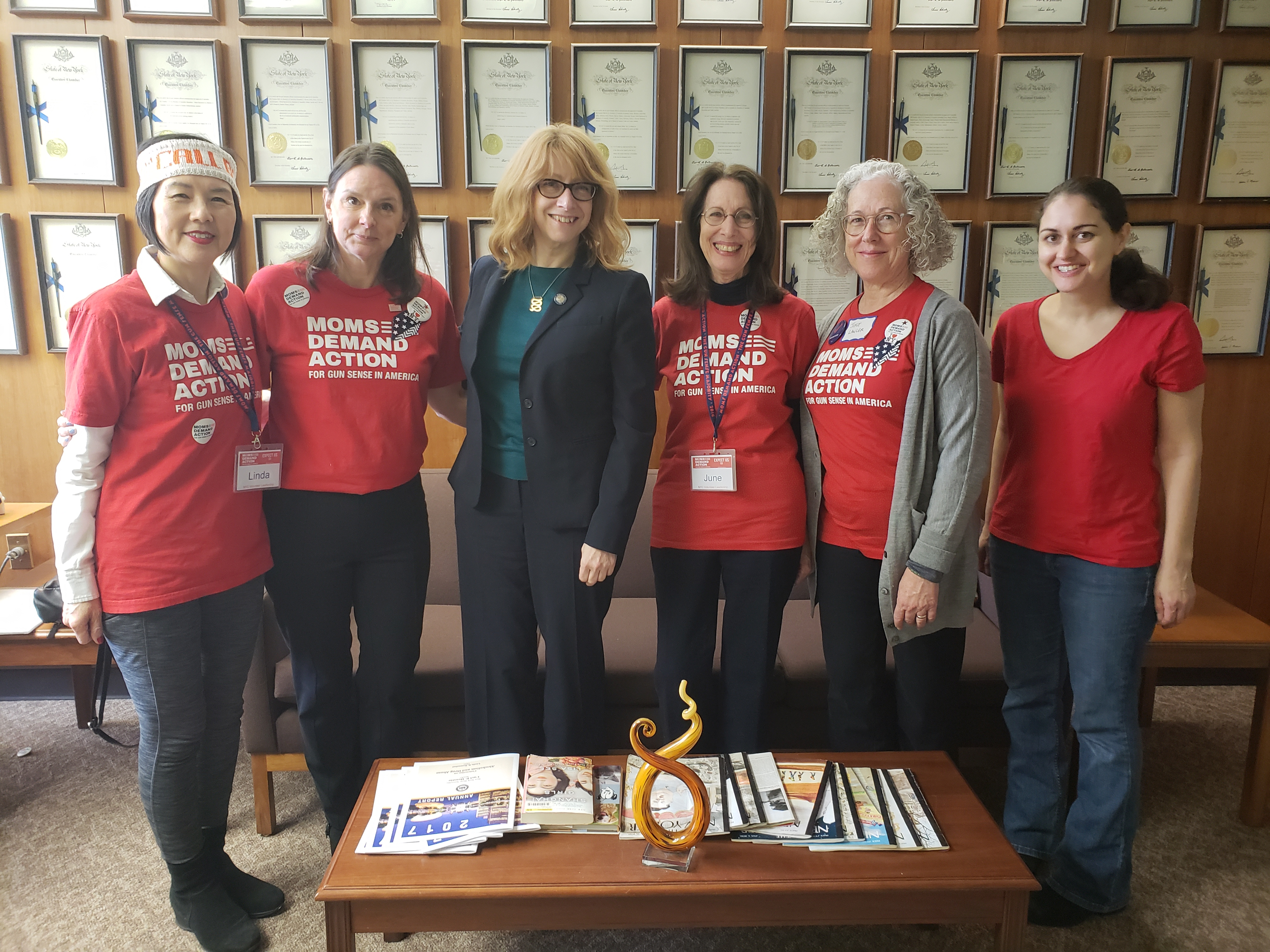 Moms Assemblymember Linda B. Rosenthal meets with Moms Demand Action for Gun Sense in America in Albany to discuss the need for tougher gun laws in New York State (L-R: Linda Dumm, Joyce Lawler, June