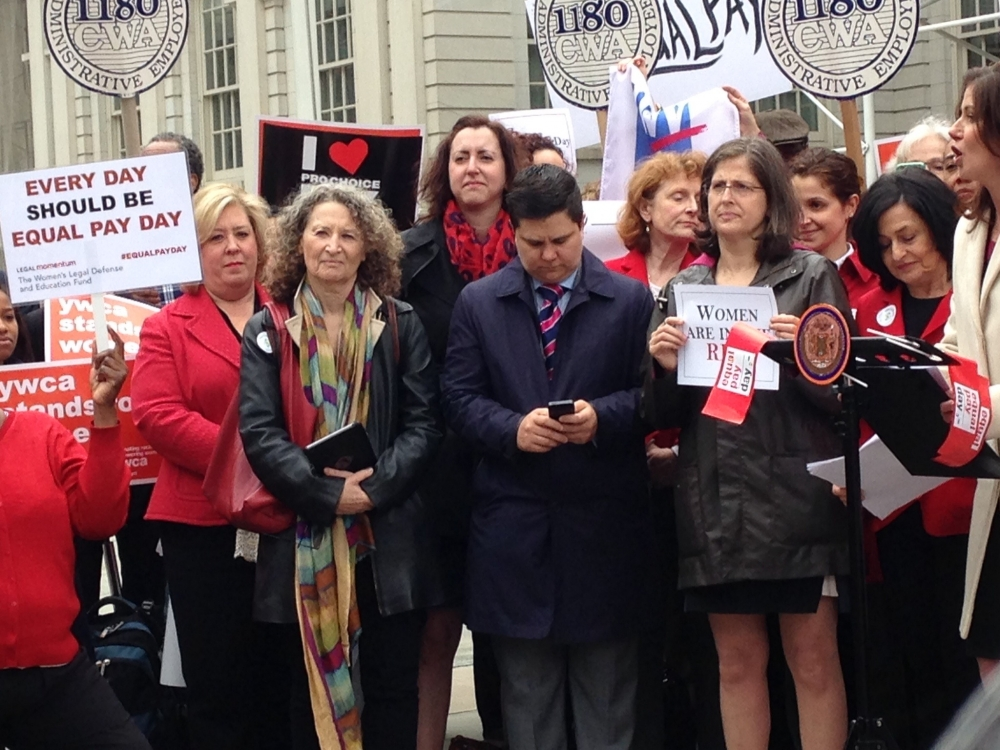 "14 April 2015 – New York City Hall – On Equal Pay Day Assembly Member Seawright stands on the steps of City Hall in support of the proposed New York Equal Pay Bill, <a href=""/leg/?bn=A6075&term=2015"" target=""blank"">A6075</a>."