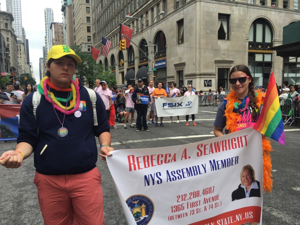 Haley and Brad support their mom, Assembly Member Rebecca Seawright, at the Pride Parade on June 28th, 2015