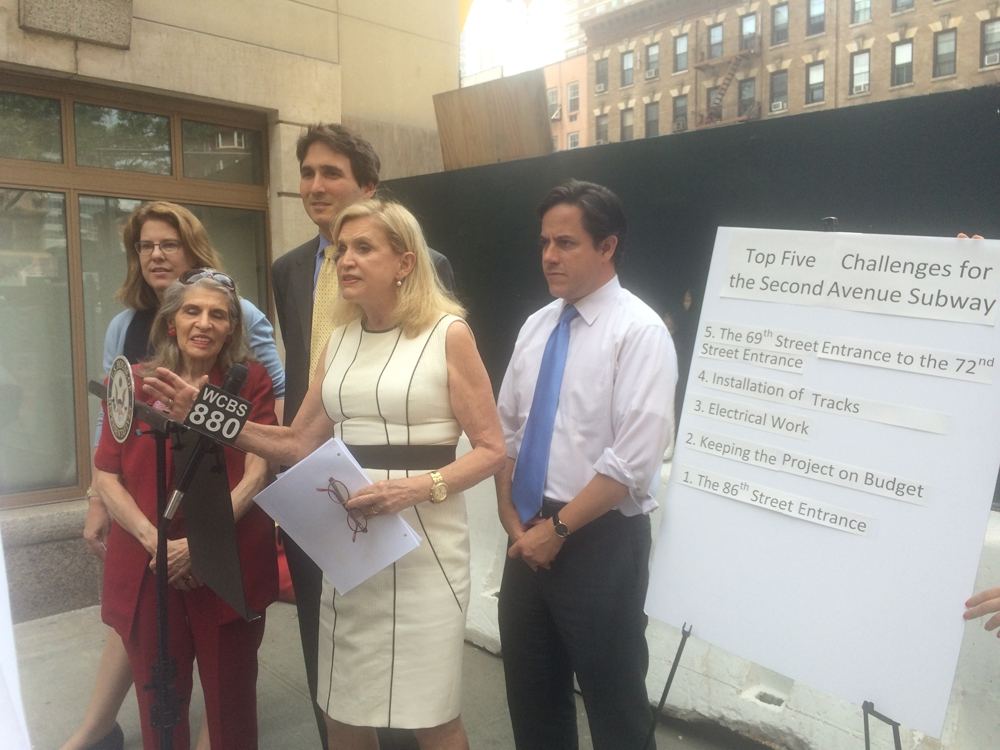 July 1, 2015—East 72nd Street— Congresswoman Carolyn B. Maloney (NY-12), Council Member Dan Garodnick (District 4), Council Member Ben Kallos (District 5), New York State Democratic Committee Vice Chair Trudy L. Mason, and representatives from Manhattan Borough President Gale A. Brewer and Assemblymember Rebecca Seawright issued a list of the top five challenges that could delay completion of phase 1 of the 2nd Avenue Subway.