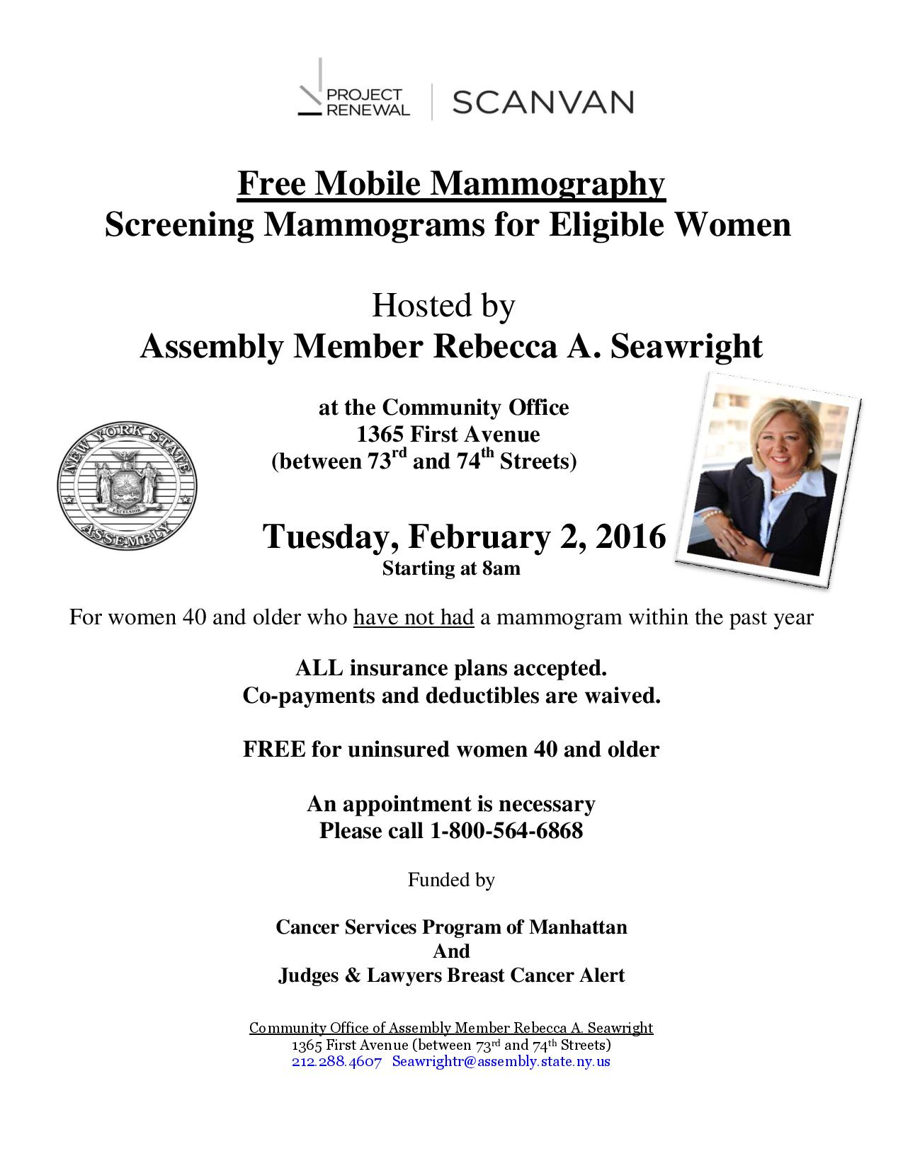 "<a href=""/mem/Rebecca-A-Seawright/story/63276"">Tuesday, February 2- Mammogram Scan Van</a>"