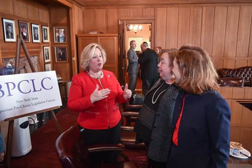 Assembly Member Seawright discusses key women's legislation with Senator Liz Krueger and other members of the Bipartisan Pro Choice Legislative Caucus.