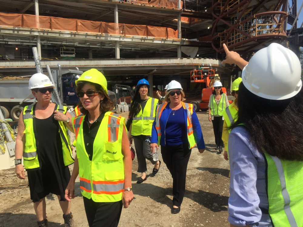 Assembly Member Seawright, Lieutenant Governor Hochul, Manhattan Borough President Brewer, RIOC CEO Rosenthal and Christina Delfico also toured the Cornell Tech campus project.