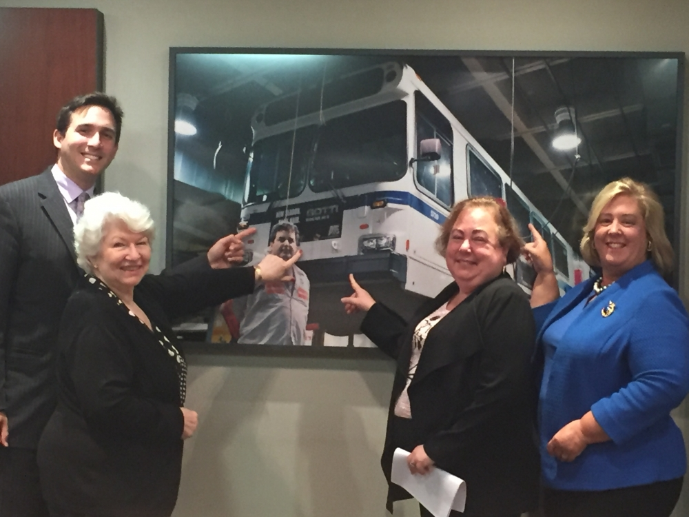Council Member Ben Kallos, East 79th Street Neighborhood Association Betty Wallerstein, State Senator Liz Krueger and Assembly Member Rebecca Seawright at MTA headquarters for a meeting on East Side bus service. <br />