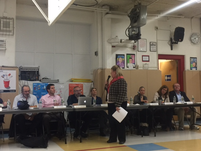 Seawright announces her new appointment to the Assembly Education Committee at a recent meeting of the Community Education Council with district parents. <br />