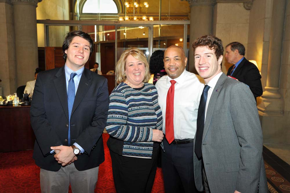 March 21, 2017 – Assembly Member Seawright in Albany with her son, SUNY student Senator Bradley Hershenson, Speaker Heastie, and CUNY Student Senator and Community Board 8 Member Daniel Dornbaum.<br />