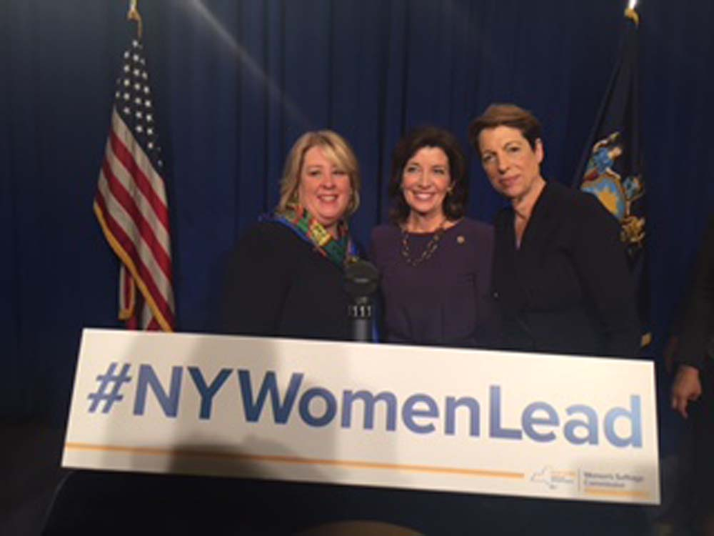March 1, 2017 – Assembly Member Seawright with Lt. Governor Hochul and Sandra Wilkin, CEO of Bradford Construction and CUNY Board Trustee.<br />